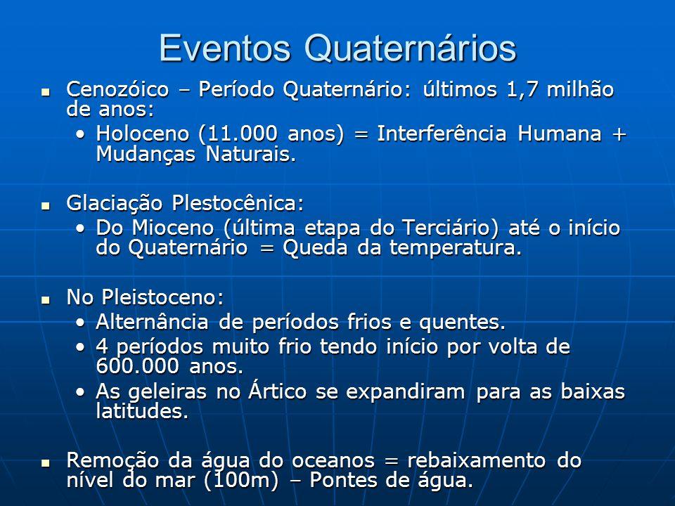 Eventos Quaternários Cenozóico – Período Quaternário: últimos 1,7 milhão de anos: Cenozóico – Período Quaternário: últimos 1,7 milhão de anos: Holocen