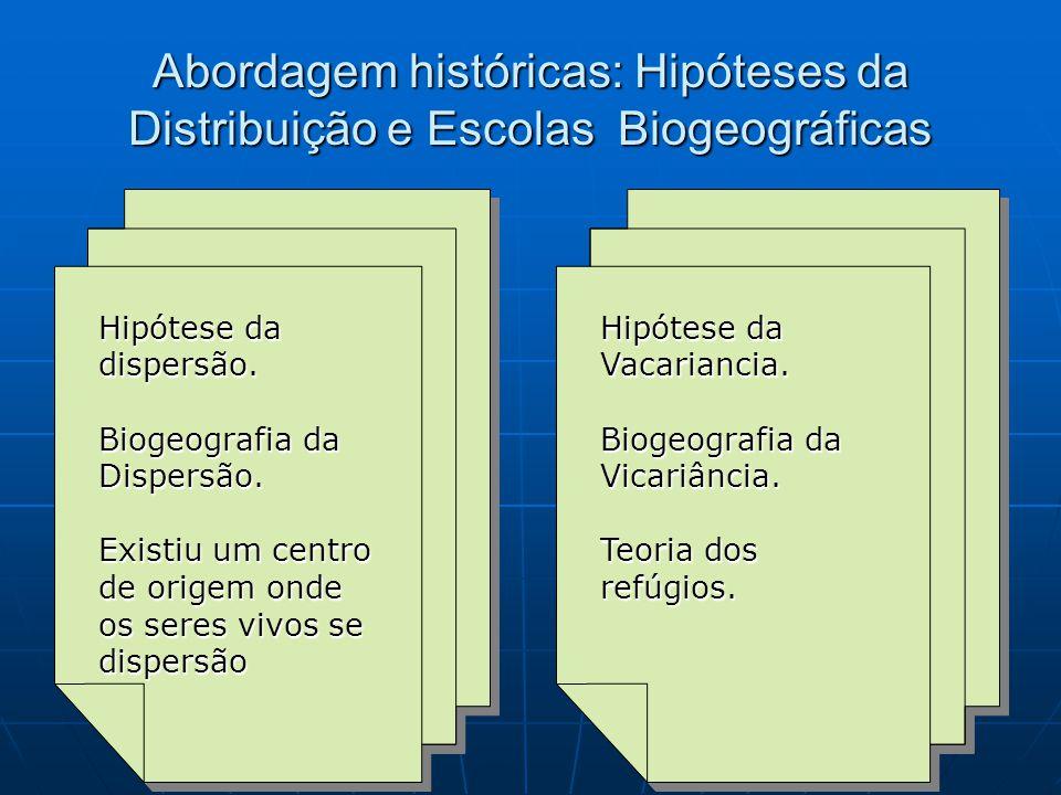 Abordagem históricas: Hipóteses da Distribuição e Escolas Biogeográficas Hipótese da dispersão. Biogeografia da Dispersão. Existiu um centro de origem