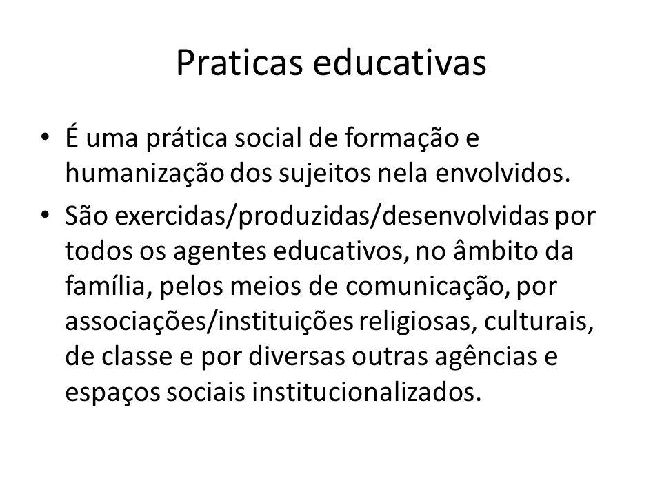 Praticas educativas É uma prática social de formação e humanização dos sujeitos nela envolvidos. São exercidas/produzidas/desenvolvidas por todos os a