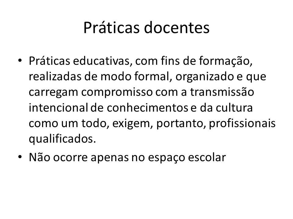 Práticas docentes Práticas educativas, com fins de formação, realizadas de modo formal, organizado e que carregam compromisso com a transmissão intenc