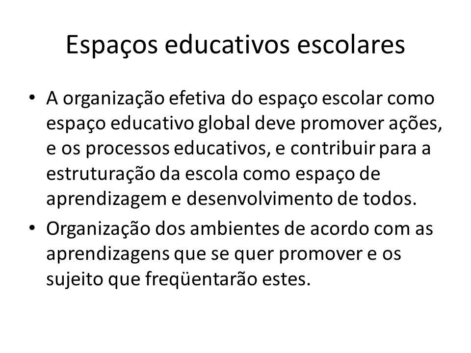 Espaços educativos escolares A organização efetiva do espaço escolar como espaço educativo global deve promover ações, e os processos educativos, e co