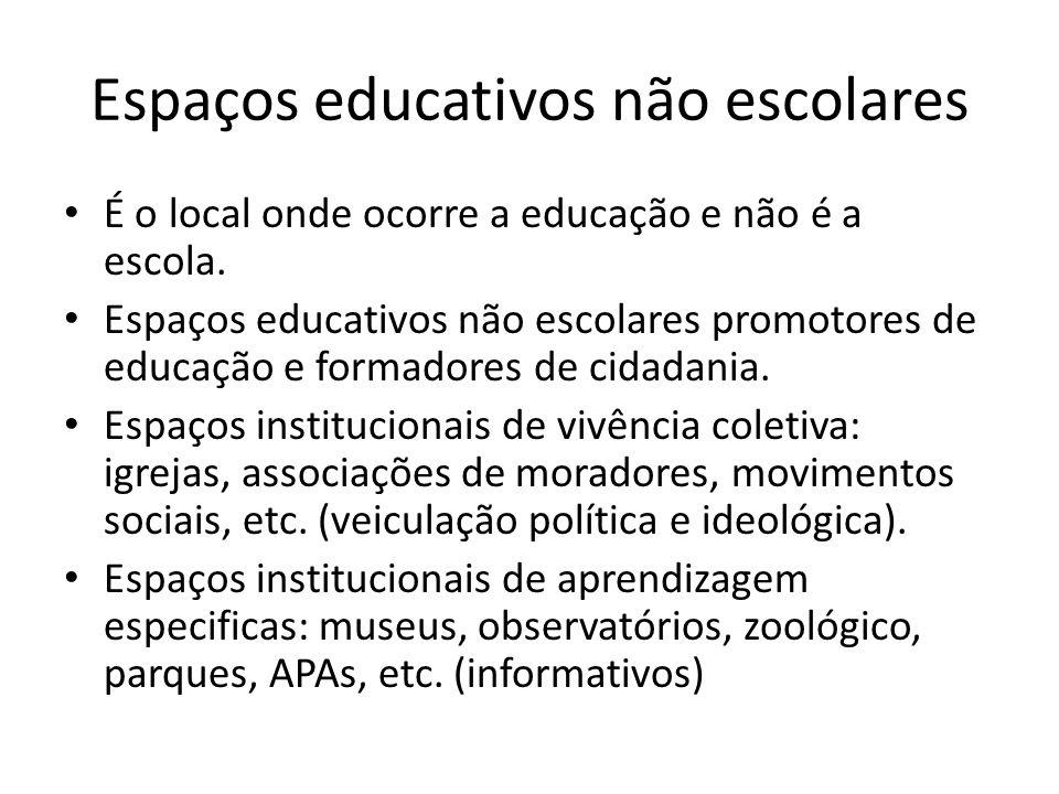 Espaços educativos não escolares É o local onde ocorre a educação e não é a escola. Espaços educativos não escolares promotores de educação e formador