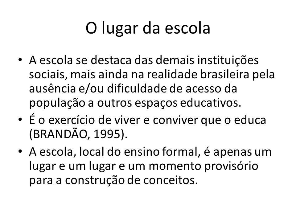 O lugar da escola A escola se destaca das demais instituições sociais, mais ainda na realidade brasileira pela ausência e/ou dificuldade de acesso da