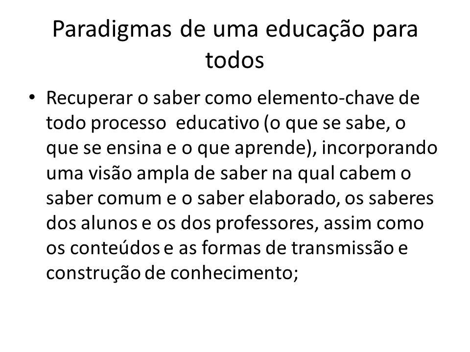 Paradigmas de uma educação para todos Recuperar o saber como elemento-chave de todo processo educativo (o que se sabe, o que se ensina e o que aprende