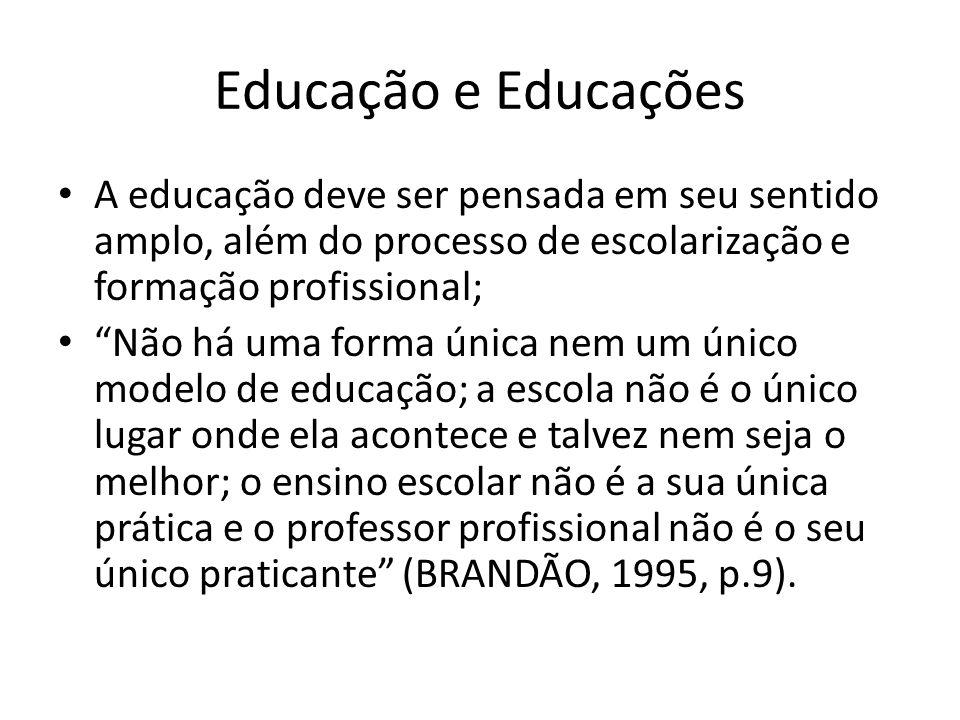 """Educação e Educações A educação deve ser pensada em seu sentido amplo, além do processo de escolarização e formação profissional; """"Não há uma forma ún"""