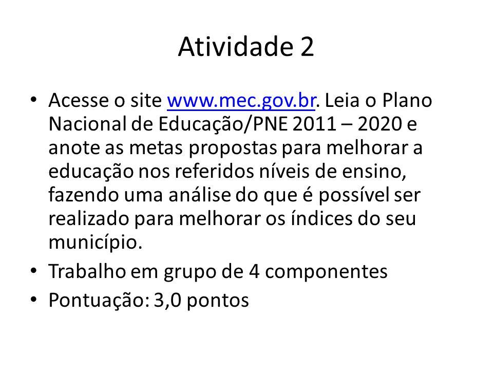 Atividade 2 Acesse o site www.mec.gov.br. Leia o Plano Nacional de Educação/PNE 2011 – 2020 e anote as metas propostas para melhorar a educação nos re