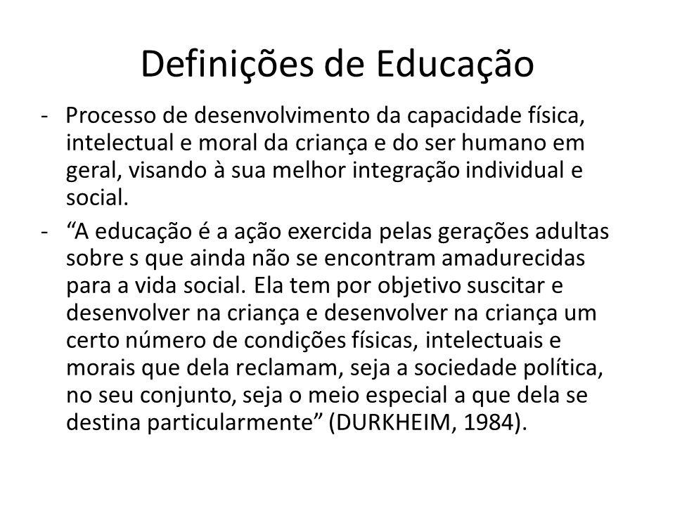 Definições de Educação - Processo de desenvolvimento da capacidade física, intelectual e moral da criança e do ser humano em geral, visando à sua melh