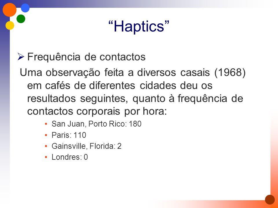 Haptics  Frequência de contactos Uma observação feita a diversos casais (1968) em cafés de diferentes cidades deu os resultados seguintes, quanto à frequência de contactos corporais por hora: San Juan, Porto Rico: 180 Paris: 110 Gainsville, Florida: 2 Londres: 0