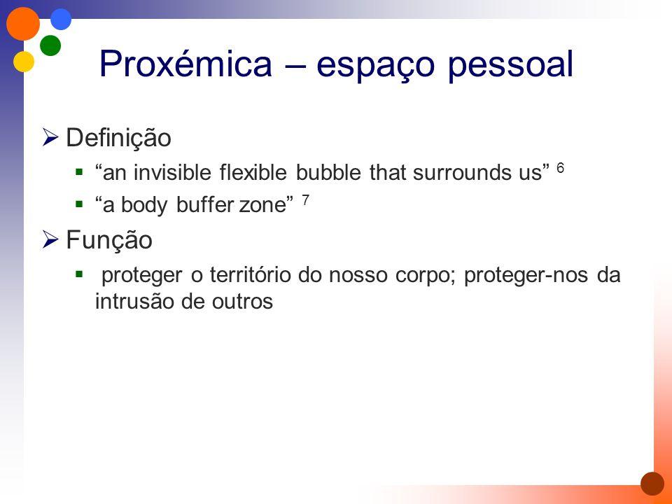 Proxémica – espaço pessoal  Definição  an invisible flexible bubble that surrounds us 6  a body buffer zone 7  Função  proteger o território do nosso corpo; proteger-nos da intrusão de outros