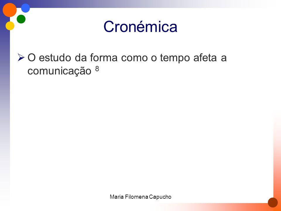 Cronémica  O estudo da forma como o tempo afeta a comunicação 8 Maria Filomena Capucho