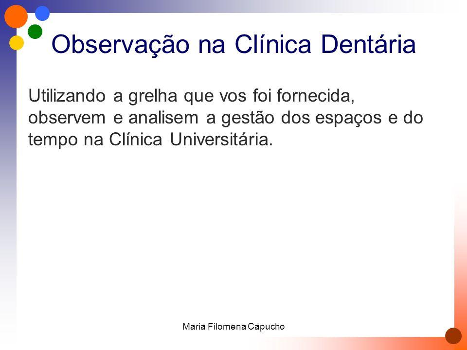 Observação na Clínica Dentária Utilizando a grelha que vos foi fornecida, observem e analisem a gestão dos espaços e do tempo na Clínica Universitária.