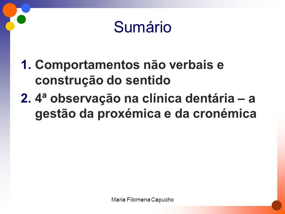 Sumário 1.Comportamentos não verbais e construção do sentido 2.4ª observação na clínica dentária – a gestão da proxémica e da cronémica Maria Filomena Capucho