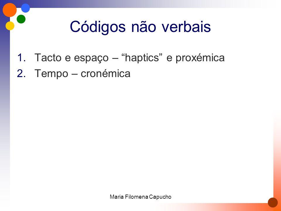 Códigos não verbais 1.Tacto e espaço – haptics e proxémica 2.Tempo – cronémica Maria Filomena Capucho