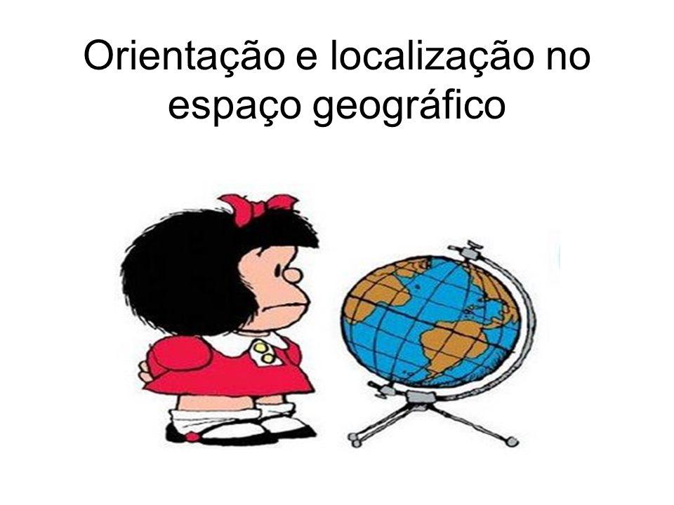 Localização no espaço geográfico Coordenadas geográficas – Conjunto de linhas imaginárias traçadas sobre os mapas e globos que representam a superfície da Terra.