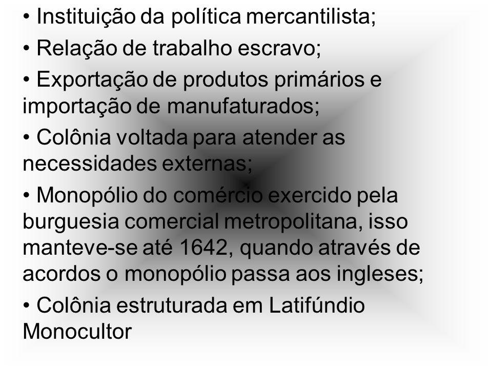 Instituição da política mercantilista; Relação de trabalho escravo; Exportação de produtos primários e importação de manufaturados; Colônia voltada pa