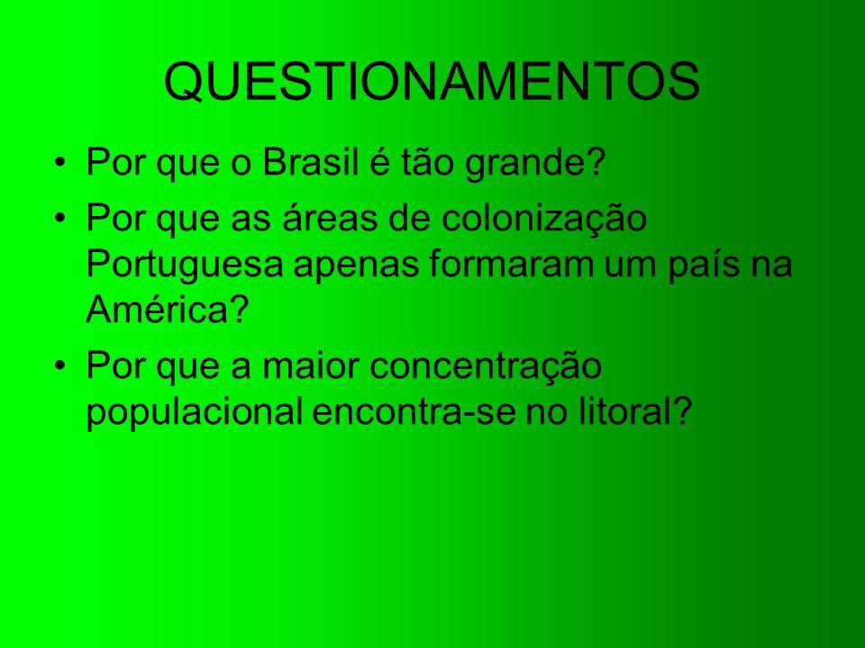 QUESTIONAMENTOS Por que o Brasil é tão grande? Por que as áreas de colonização Portuguesa apenas formaram um país na América? Por que a maior concentr