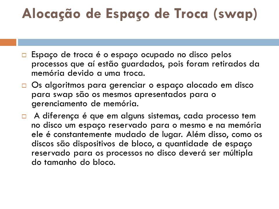Alocação de Espaço de Troca (swap)  Espaço de troca é o espaço ocupado no disco pelos processos que aí estão guardados, pois foram retirados da memór