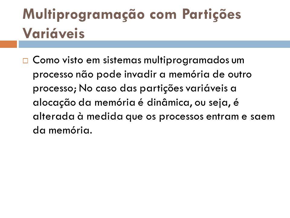Multiprogramação com Partições Variáveis  Como visto em sistemas multiprogramados um processo não pode invadir a memória de outro processo; No caso d