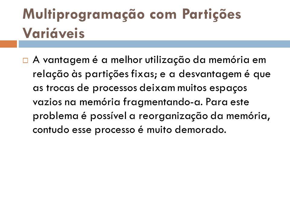 Multiprogramação com Partições Variáveis  A vantagem é a melhor utilização da memória em relação às partições fixas; e a desvantagem é que as trocas