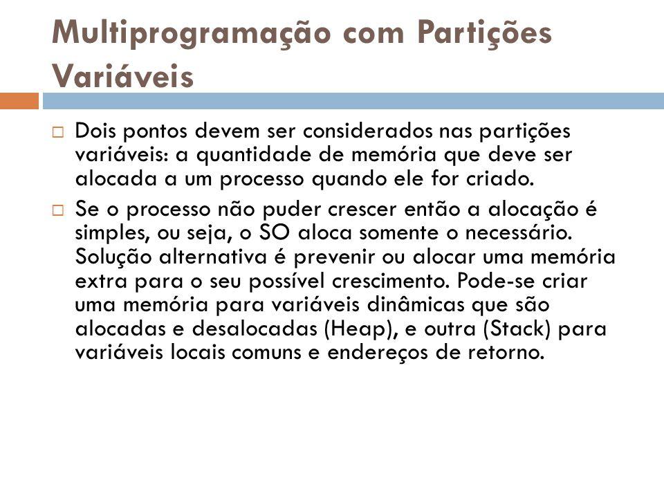 Multiprogramação com Partições Variáveis  Dois pontos devem ser considerados nas partições variáveis: a quantidade de memória que deve ser alocada a