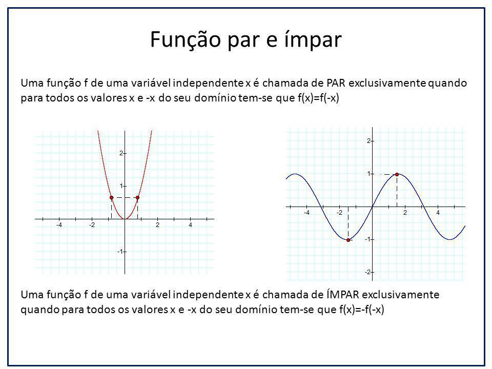 Função par e ímpar Uma função f de uma variável independente x é chamada de PAR exclusivamente quando para todos os valores x e -x do seu domínio tem-