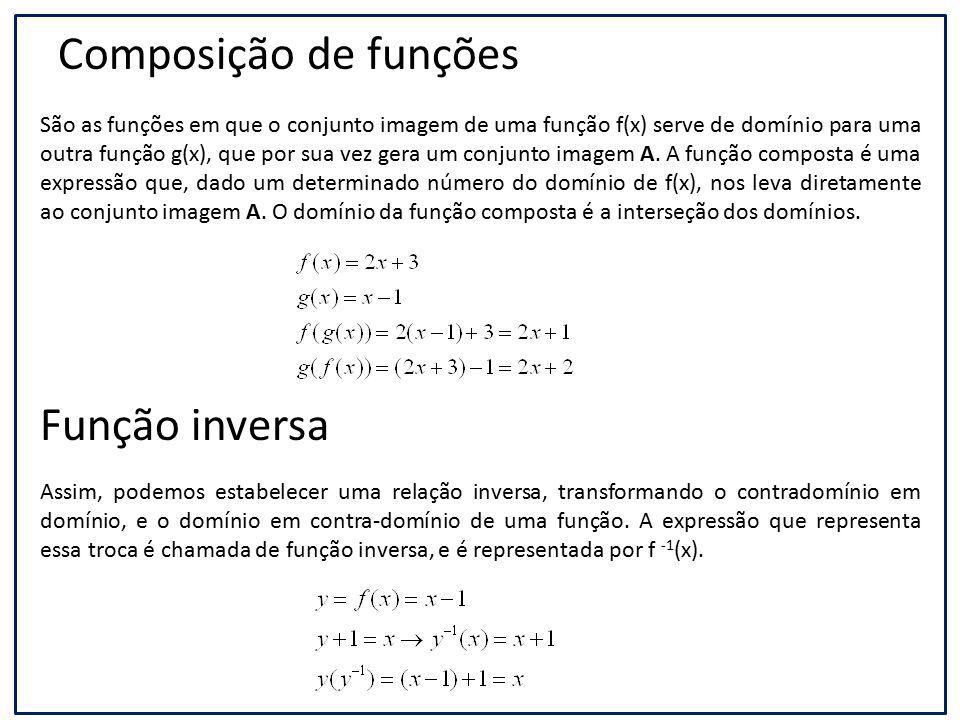 Composição de funções São as funções em que o conjunto imagem de uma função f(x) serve de domínio para uma outra função g(x), que por sua vez gera um