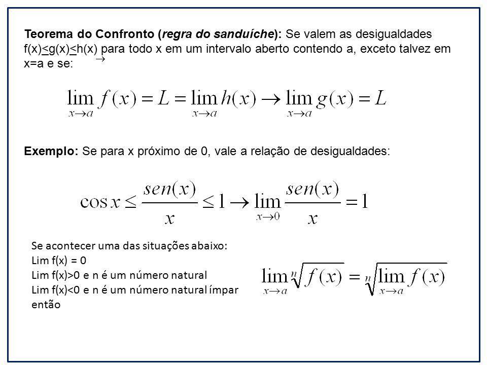 Teorema do Confronto (regra do sanduíche): Se valem as desigualdades f(x)<g(x)<h(x) para todo x em um intervalo aberto contendo a, exceto talvez em x=