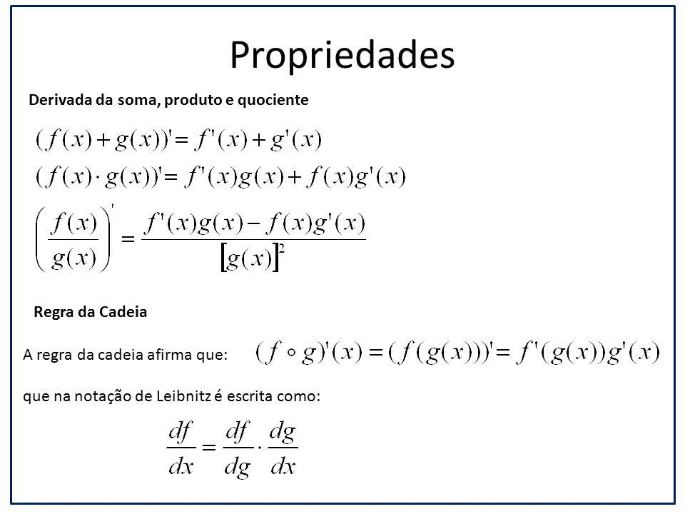 Propriedades Regra da Cadeia Derivada da soma, produto e quociente A regra da cadeia afirma que: que na notação de Leibnitz é escrita como: