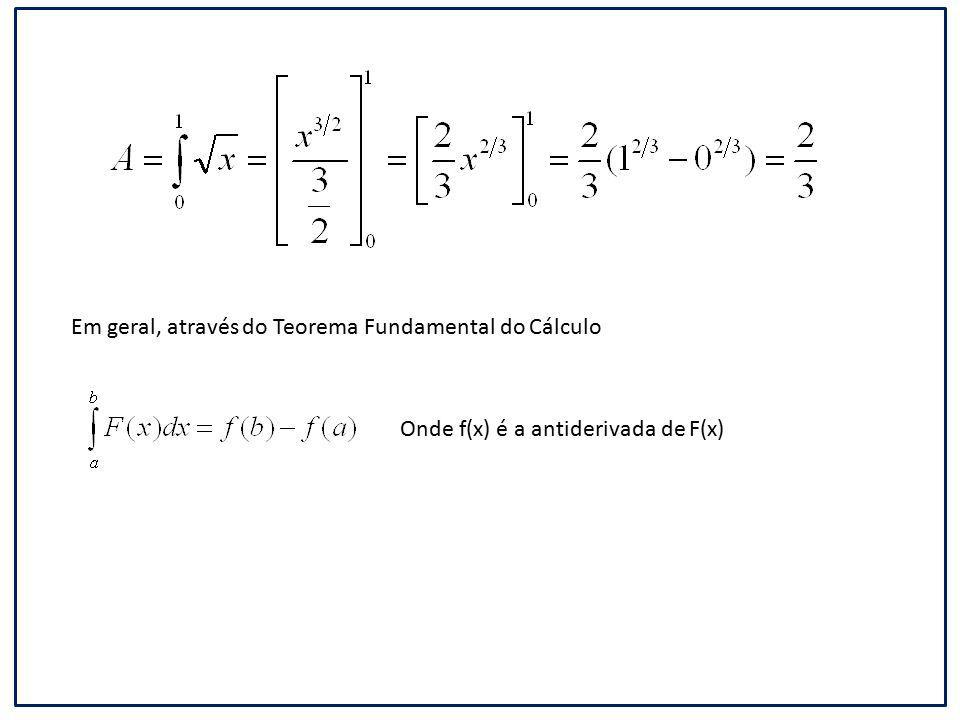 Em geral, através do Teorema Fundamental do Cálculo Onde f(x) é a antiderivada de F(x)