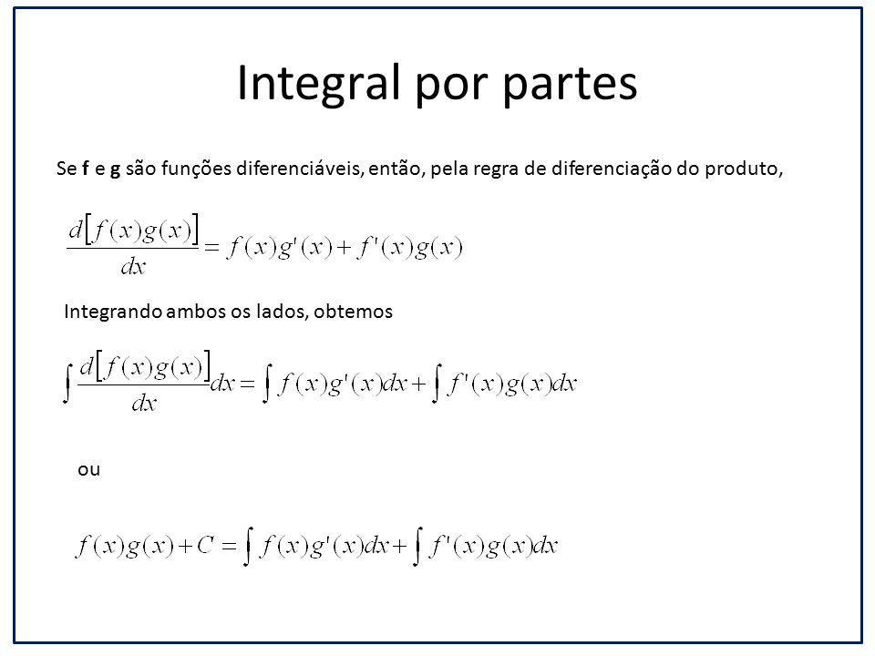 Integral por partes Se f e g são funções diferenciáveis, então, pela regra de diferenciação do produto, Integrando ambos os lados, obtemos ou