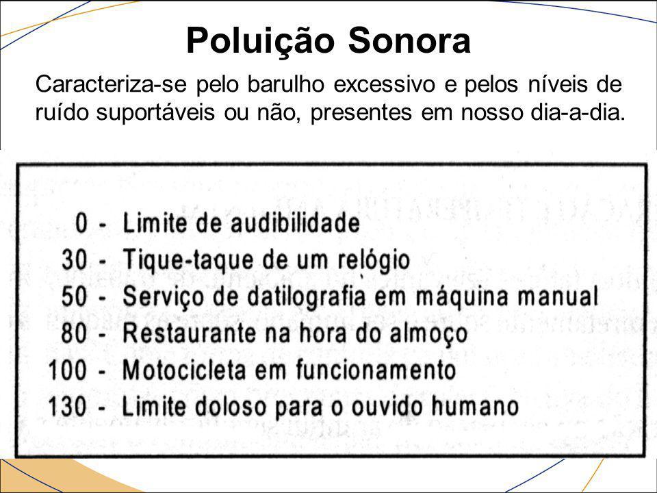 Poluição Sonora Caracteriza-se pelo barulho excessivo e pelos níveis de ruído suportáveis ou não, presentes em nosso dia-a-dia.