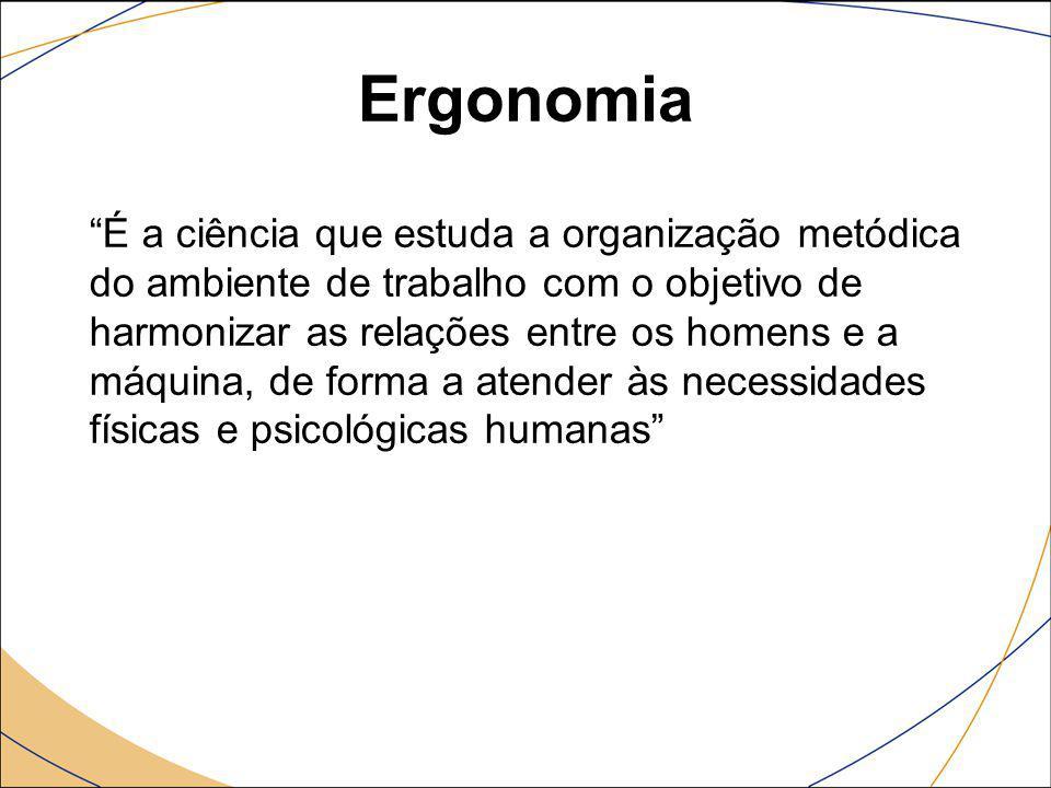 """Ergonomia """"É a ciência que estuda a organização metódica do ambiente de trabalho com o objetivo de harmonizar as relações entre os homens e a máquina,"""
