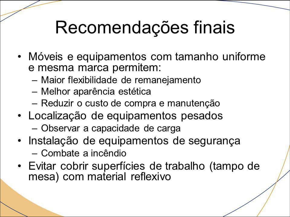 Recomendações finais Móveis e equipamentos com tamanho uniforme e mesma marca permitem: –Maior flexibilidade de remanejamento –Melhor aparência estéti