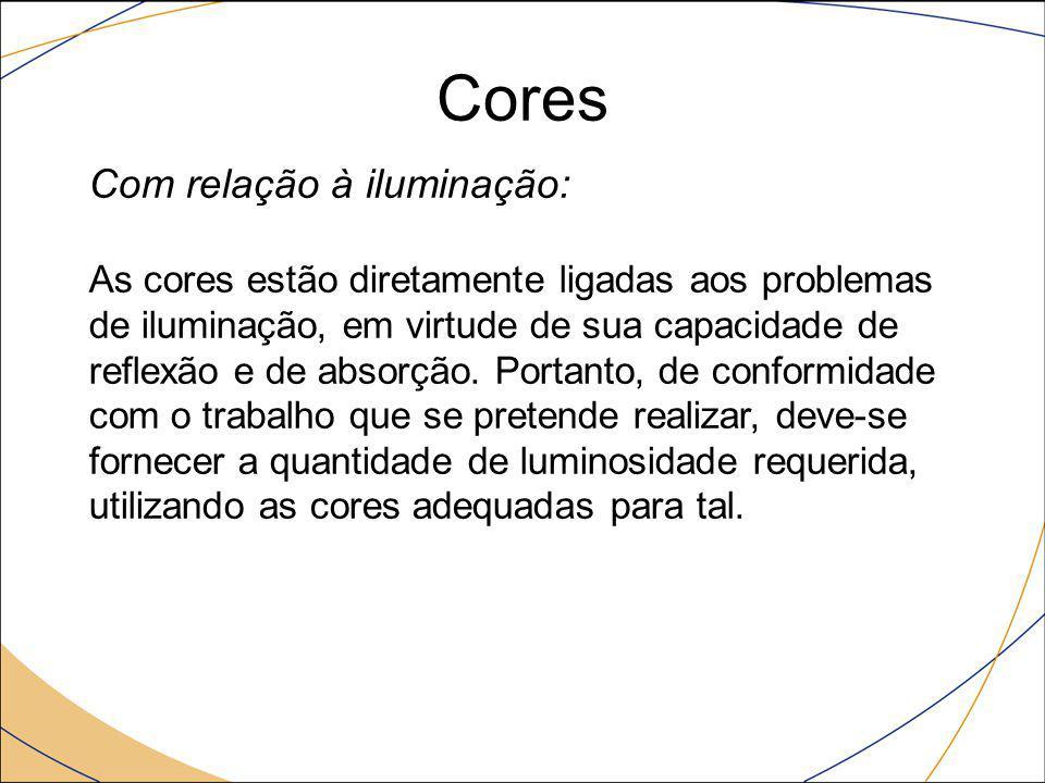 Cores Com relação à iluminação: As cores estão diretamente ligadas aos problemas de iluminação, em virtude de sua capacidade de reflexão e de absorção
