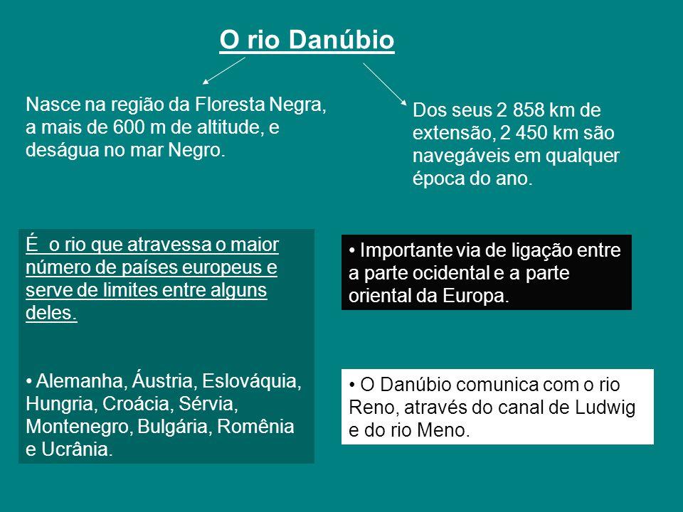 O rio Danúbio Nasce na região da Floresta Negra, a mais de 600 m de altitude, e deságua no mar Negro. É o rio que atravessa o maior número de países e