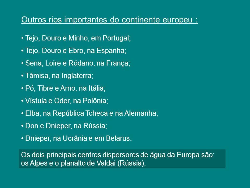 Outros rios importantes do continente europeu : Tejo, Douro e Minho, em Portugal; Tejo, Douro e Ebro, na Espanha; Sena, Loire e Ródano, na França; Tâm