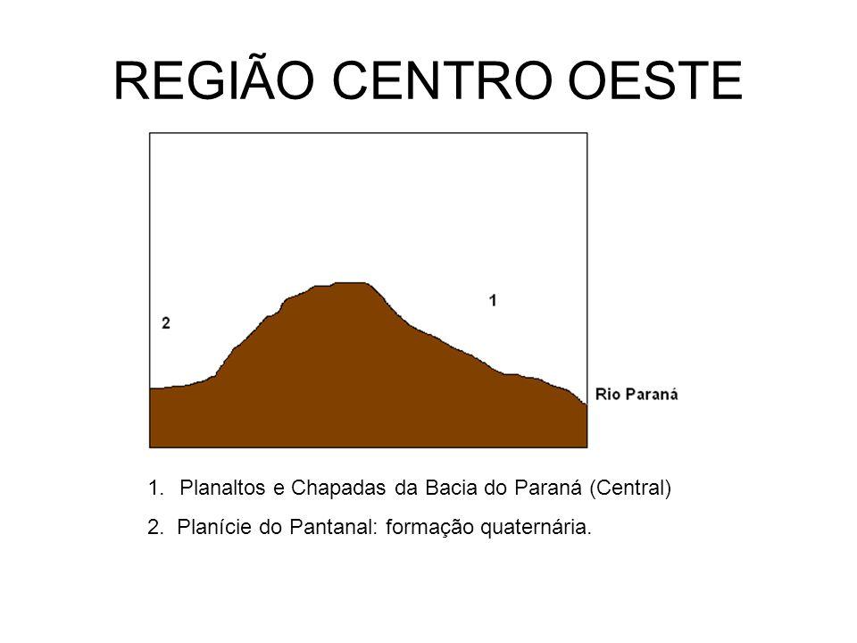 REGIÃO CENTRO OESTE 1.Planaltos e Chapadas da Bacia do Paraná (Central) 2. Planície do Pantanal: formação quaternária.