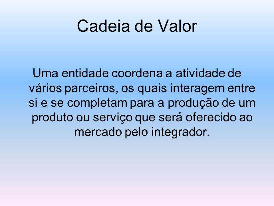 Cadeia de Valor Uma entidade coordena a atividade de vários parceiros, os quais interagem entre si e se completam para a produção de um produto ou serviço que será oferecido ao mercado pelo integrador.