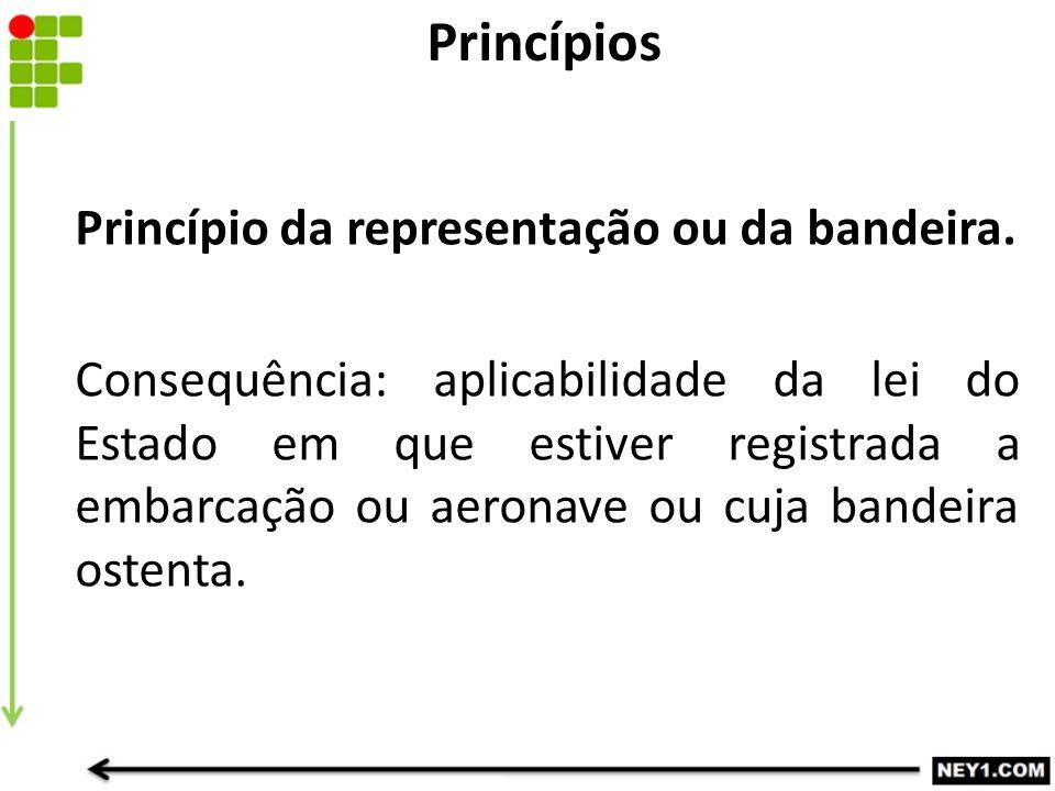 Princípio da representação ou da bandeira. Consequência: aplicabilidade da lei do Estado em que estiver registrada a embarcação ou aeronave ou cuja ba