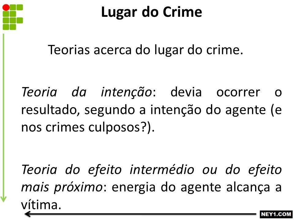Teorias acerca do lugar do crime. Teoria da intenção: devia ocorrer o resultado, segundo a intenção do agente (e nos crimes culposos?). Teoria do efei
