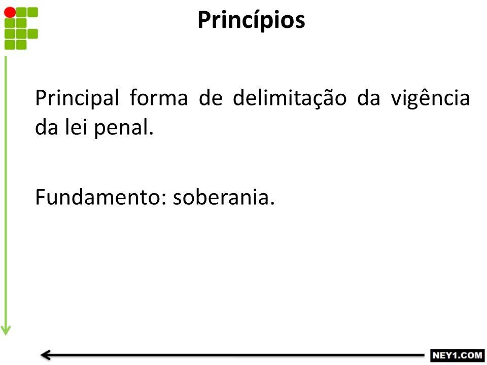Principal forma de delimitação da vigência da lei penal. Fundamento: soberania. Princípios