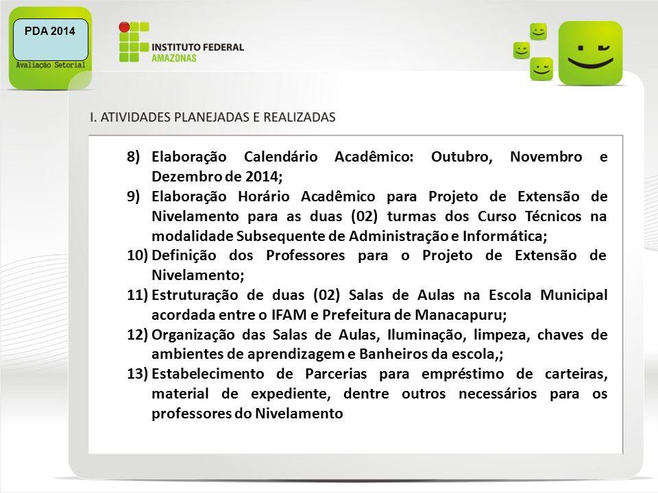 8)Elaboração Calendário Acadêmico: Outubro, Novembro e Dezembro de 2014; 9)Elaboração Horário Acadêmico para Projeto de Extensão de Nivelamento para as duas (02) turmas dos Curso Técnicos na modalidade Subsequente de Administração e Informática; 10)Definição dos Professores para o Projeto de Extensão de Nivelamento; 11)Estruturação de duas (02) Salas de Aulas na Escola Municipal acordada entre o IFAM e Prefeitura de Manacapuru; 12)Organização das Salas de Aulas, Iluminação, limpeza, chaves de ambientes de aprendizagem e Banheiros da escola,; 13)Estabelecimento de Parcerias para empréstimo de carteiras, material de expediente, dentre outros necessários para os professores do Nivelamento PDA 2014