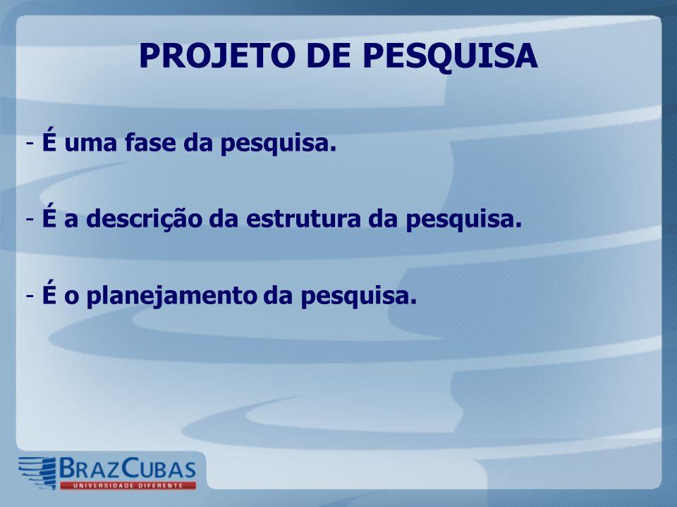 PROJETO DE PESQUISA - É uma fase da pesquisa. - É a descrição da estrutura da pesquisa. - É o planejamento da pesquisa.