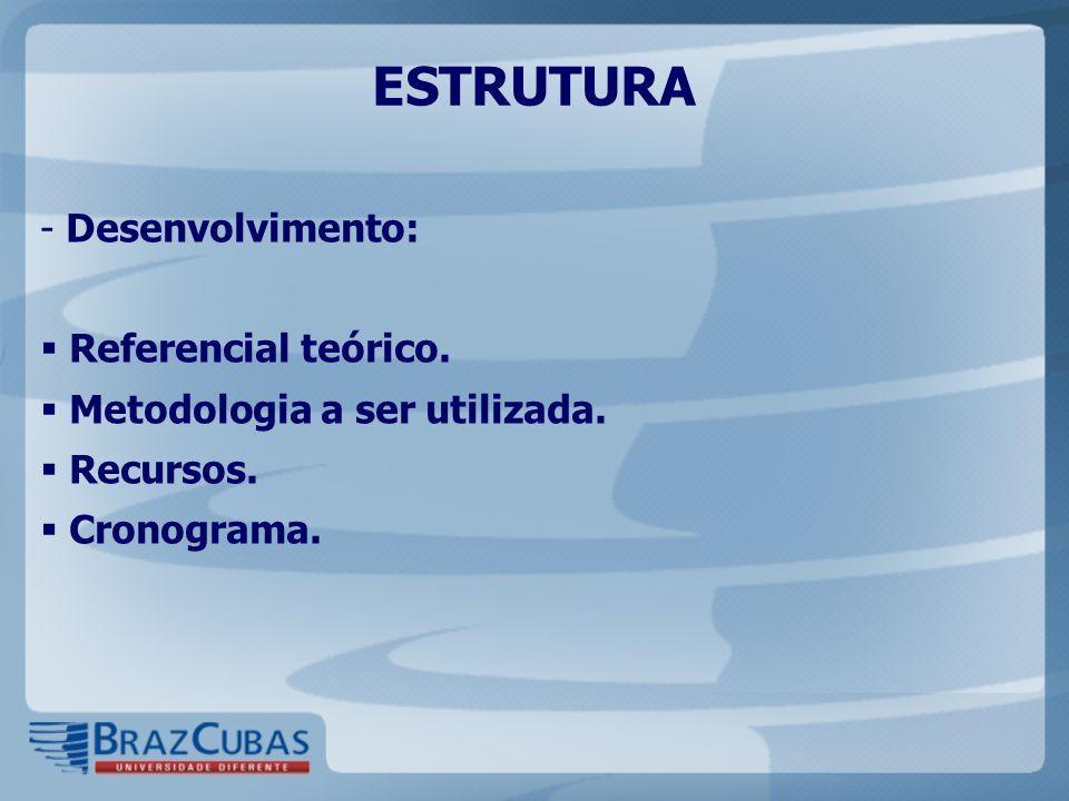 ESTRUTURA - Desenvolvimento:  Referencial teórico.  Metodologia a ser utilizada.  Recursos.  Cronograma.