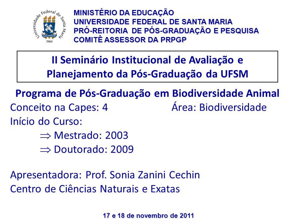 17 e 18 de novembro de 2011 II Seminário Institucional de Avaliação e Planejamento da Pós-Graduação da UFSM Programa de Pós-Graduação em Biodiversidad