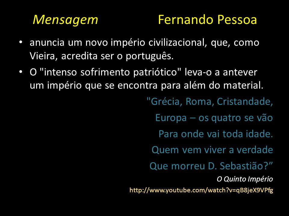 Mensagem Fernando Pessoa anuncia um novo império civilizacional, que, como Vieira, acredita ser o português. O
