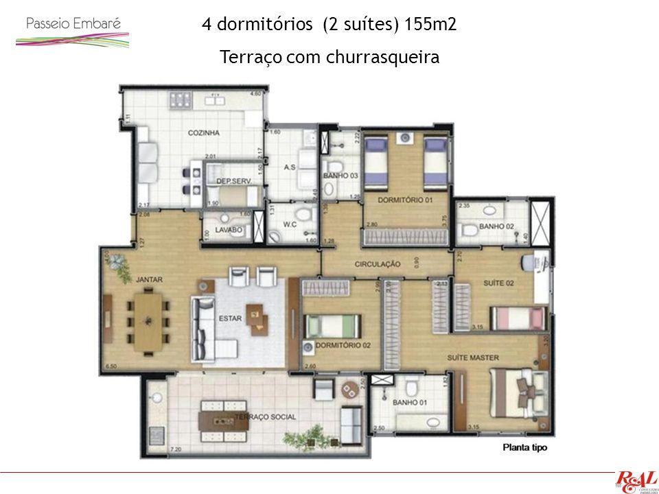 4 dormitórios (2 suítes) 155m2 Terraço com churrasqueira