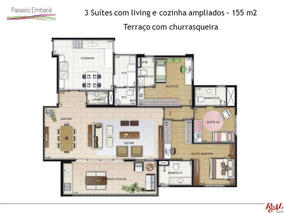 3 Suítes com living e cozinha ampliados – 155 m2 Terraço com churrasqueira