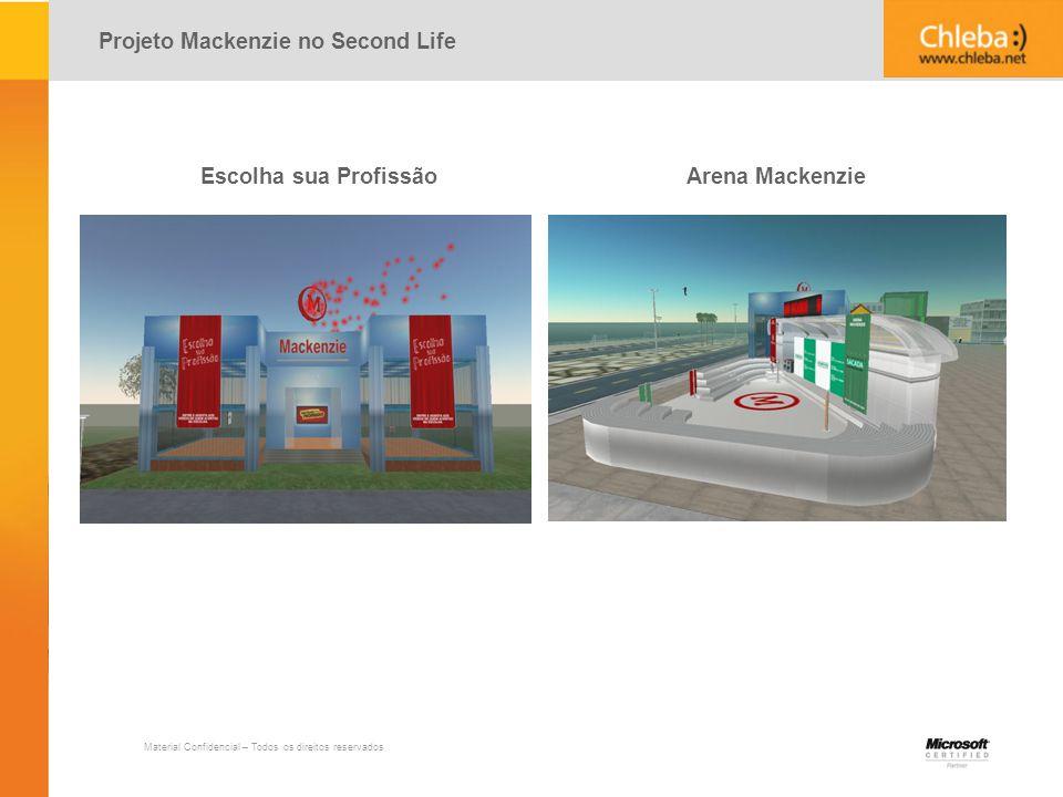 Material Confidencial – Todos os direitos reservados Projeto Mackenzie no Second Life Escolha sua Profissão Arena Mackenzie