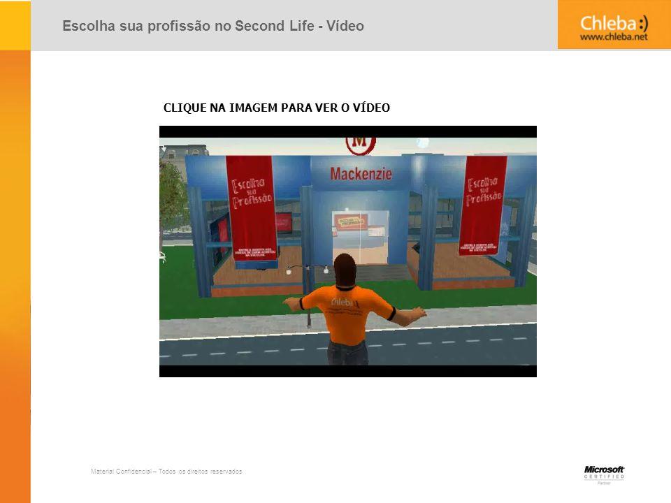Material Confidencial – Todos os direitos reservados Escolha sua profissão no Second Life - Vídeo CLIQUE NA IMAGEM PARA VER O VÍDEO